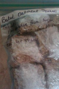 Baked Oatmeal Squares, freezer ready!