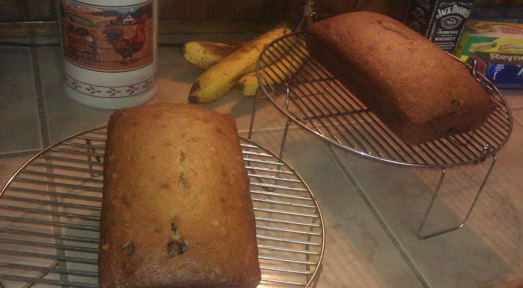 Jacked Up Chocolate Chip Banana Bread Loaves Cooling