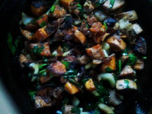 Sweet Potatoes, Bacon, Spinach